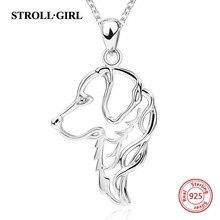 Strollgirl prata esterlina 925 bonito cão animal de estimação colares & pingentes moda feminina jóias fazendo para presente