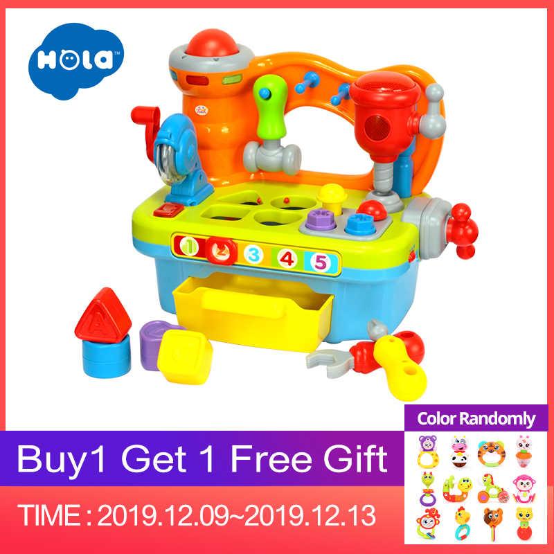 HOLA 907 Музыкальный обучающий игрушечный верстак с инструментами, инженерные звуковые эффекты и светильник и сортировщик формы игрушки для детей Рождественский подарок