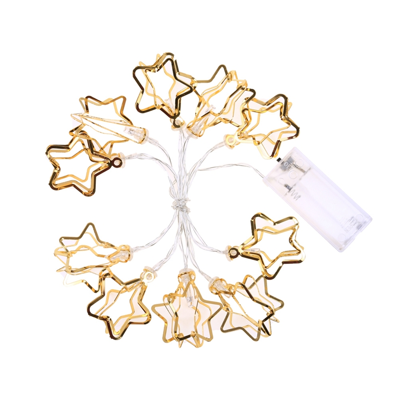Promotion! 1.1M 10 Led Gold Hollow Star Led String Light Mini Fairy Lights For Christmas Holiday Party Wedding Home Store Deco