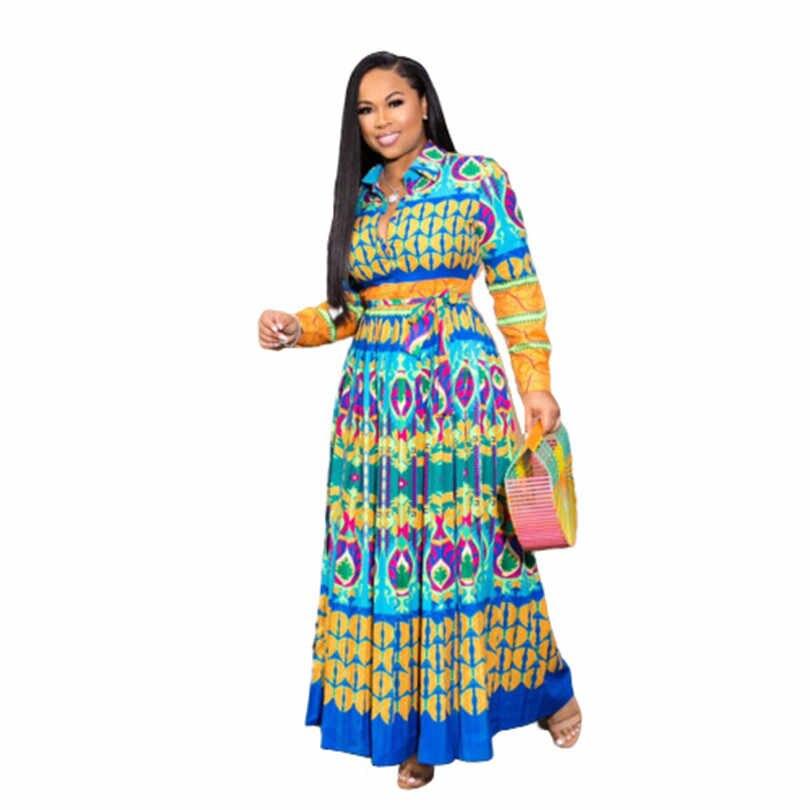 Sukienki afrykańskie dla damska suknia Africaine 2020 ubranie afrykańskie Dashiki modny nadruk tkaniny długa, maksi sukienka odzież z afryki