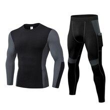Tracksuits Workout Sportwear Gym Fitness-Compression Jogging 2pieces-Set Men Running