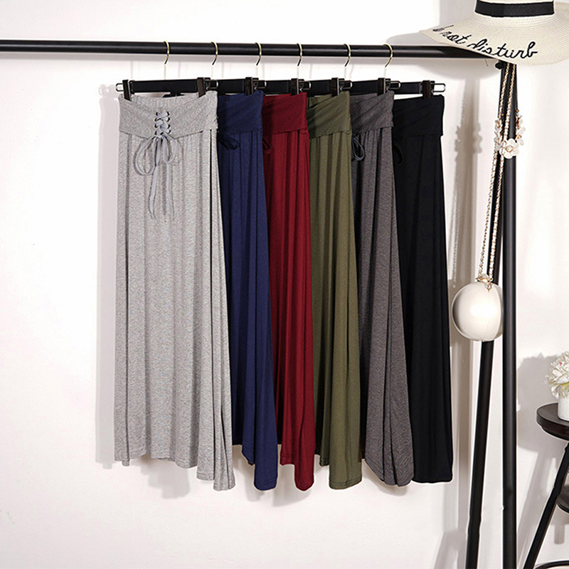 Women Long Skirts Fashion Women High Quality High Waist Long Skirt  Female Casual Pleated Vintage Ankle-Length Skirts