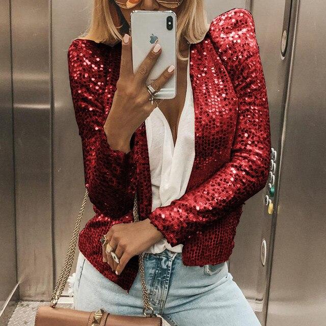 Paillettes vestes paillettes boîte de nuit à manches longues femmes manteau mode or argent mince automne brillant veste matelassée femme GV928