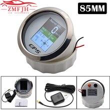 85mm tekne araba motosiklet kilometre sayacı su geçirmez TFT ekran dijital GPS kilometre ölçer mil knot Km/h ile ayarlanmış GPS anten