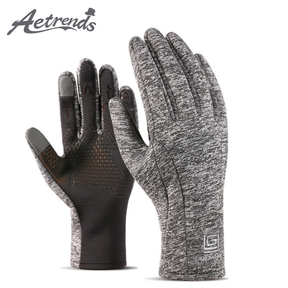 [AETRENDS] Running Sports Gloves Compression Lightweight Windproof Anti-Slip Touchscreen Warm Liner Cycling Work Gloves O-0022