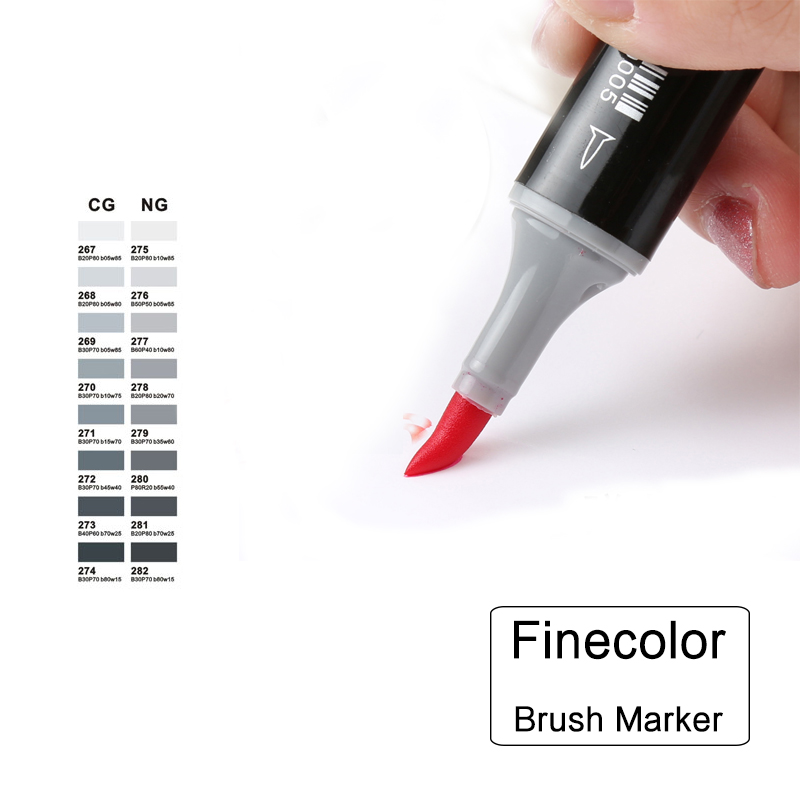 Professional Brush FINECOLOUR Art Marker Twin Tip (Color Set) Soft Brush Oblique Alcohol Ink Comic Design Art Supplies EF102