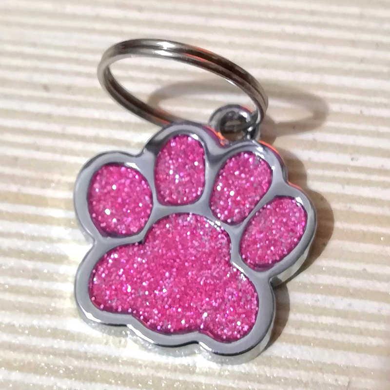2 pièce/ensemble chien étiquettes bonbons couleur empreinte chiot strass populaire pendentif belle animal bijoux chien fournitures accessoires Para Mascotas