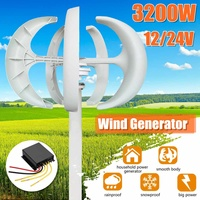 3200W AC12/24V Lantern 5 Blade Wind Turbines Generator Household Power Generator W/Controller For solar streetlight,boat,Marine