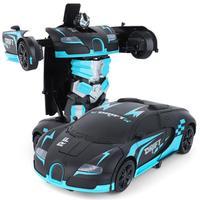 Transform Car Robot Remote Control Car Toy Robot Deformation Car Model Toy for Children One Button Transformation