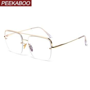 Predicar enfermo Punto de partida  Peekaboo-Gafas de bloqueo de luz azul para mujer, anteojos cuadrados de  medio marco dorado, Marcos para gafas con receta, de metal semisin  montura-Leather bag