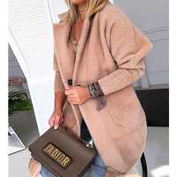 Women Winter Warm Khaki Solid Fluffy Open Front Long Coat Soft Outwear Women Warm Jacket