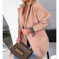 Women Winter Warm Khaki Solid Fluffy Open Front Long Coat Soft Outwear Women Warm Jacket
