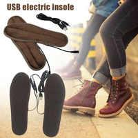 Plantillas calefactoras USB almohadillas eléctricas Calentadores de invierno zapatos calentador de botas plantillas para los pies J9