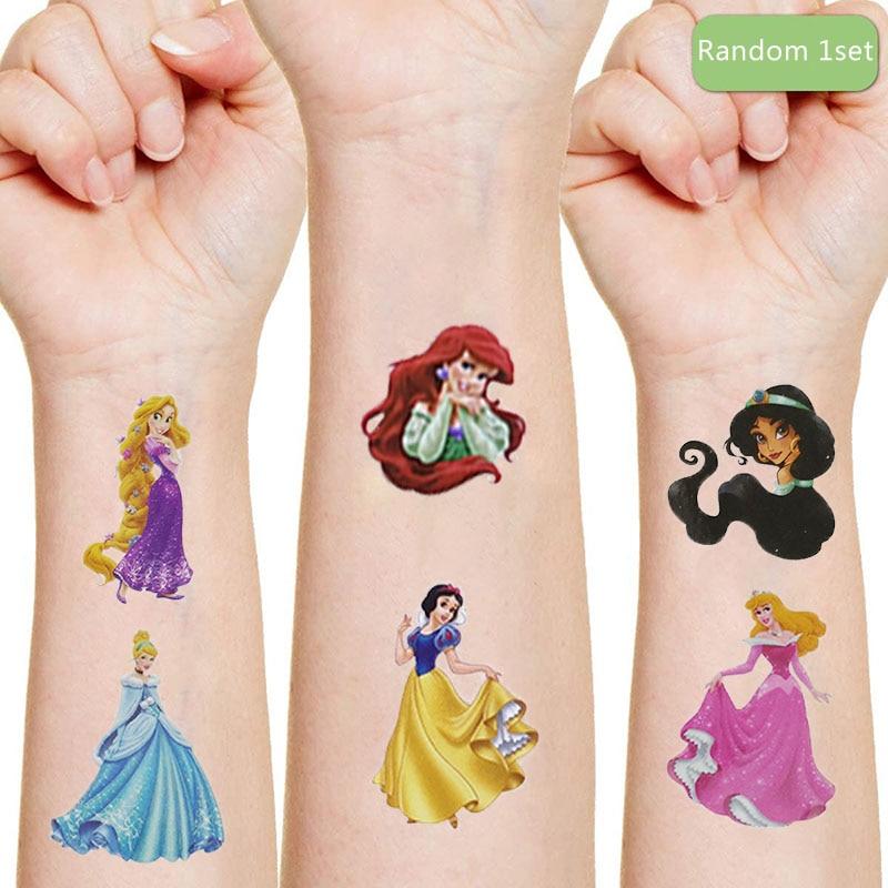 Disney neve branca areia ariel originales tatuagem adesivo aleatório 1 pçs figura de ação princesa dos desenhos animados meninas natal presente aniversário