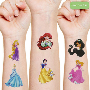 Disney Snow White Sandy Ariel Originales Tattoo Sticker Random 1PCS Action Figure Princess Cartoon Girls Christmas Birthday Gift