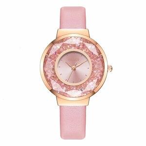 Image 3 - YOLAKO Brand Women Leather Moving Diamond Watch Luxury Ladies Quartz Rhinestone Watches Clock Reloj Mujer Relogio Feminino