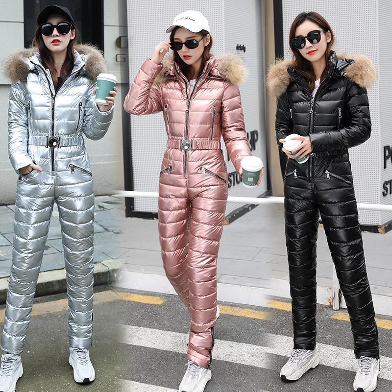 Ski Suit Women One-piece Fashion Hooded With Fur Collar Outdoor Snowboard Jacket Windproof Warm Cotton Clothing Jumpsuit Ski Set