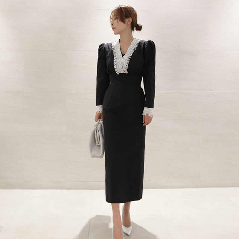נשים בציר המפלגה Midi שמלה ארוך שרוול תחרה צווארון מוצק מזדמן אלגנטי שמלת 2020 אביב חדש אופנה שמלה