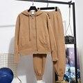 Moda nova 2020 primavera duas peças conjunto feminino com capuz solto manga comprida camisola de malha + casual pequenos pés calças de malha conjunto d3625
