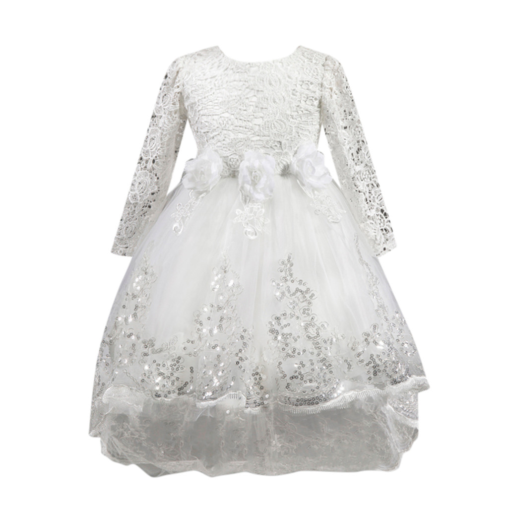 Flower Girls Christmas Dress Kids Baby Party Pageant Long Sleeve Dresses Clothes