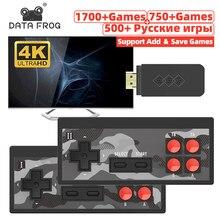 Data Frog – Mini Console de jeux vidéo 4K, rétro, avec 1700 jeux intégrés, contrôleur sans fil HD/AV, Dendy, préfixe