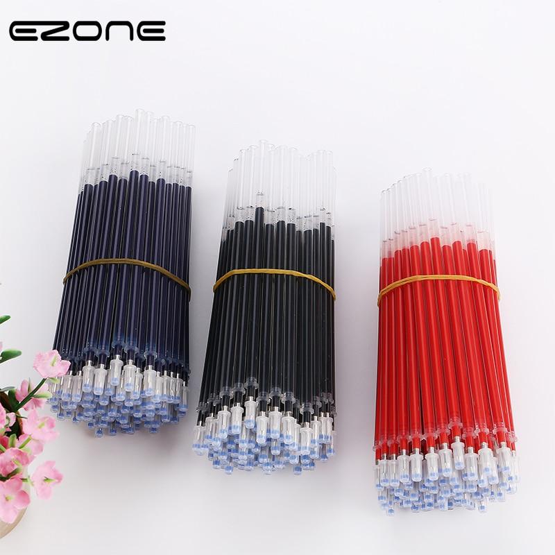 EZONE 100PCS/SET Gel Pen Refill 0.5mm Bullet Refill Black/Blue/Red Ink Gel Pen School Office Writing Pens School Stationery New