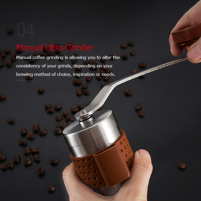 Alocs CW-K17 Travel Manual Coffee Grinder Maker Conical Burr Mill With Adjustable Setting Portable Hand Crank Coffee Grinder 4