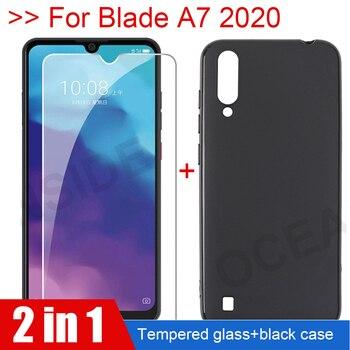 Перейти на Алиэкспресс и купить 2в1 стеклянная крышка + чехол для zte Blade A7 2020 Защитная пленка для экрана Мягкий ТПУ силиконовый чехол на Blade A 7 A7000 A7010 2020