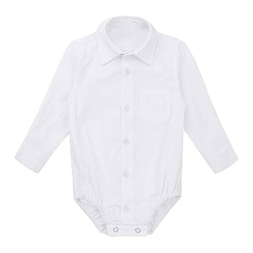 Newborns Bodysuit Baby Boys Formal Shirts Gentleman Long Sleeve White Button Wedding Party Outfits Infant Kid Jumpsuit 0-24M A20