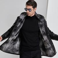 New Mens Winter Leather Coat Men's Hooded Jacket Leather Winter Jacket Warm Imitation Rabbit Fur Lining Faux Fur Coat Men