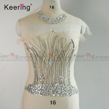 Keering New Arrival  New arrival Leaf-shape Beaded Rhinestone Wedding Applique silver rhinestone patches with necklace WDP-153