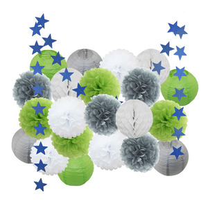 Image 3 - Baby Girl dekoracja na Baby shower 22 sztuk/zestaw różowy beżowy niebieski zestaw okrągłe papierowe latarnia dzieci chrzest Party Favor do zawieszenia z papieru rzemiosła