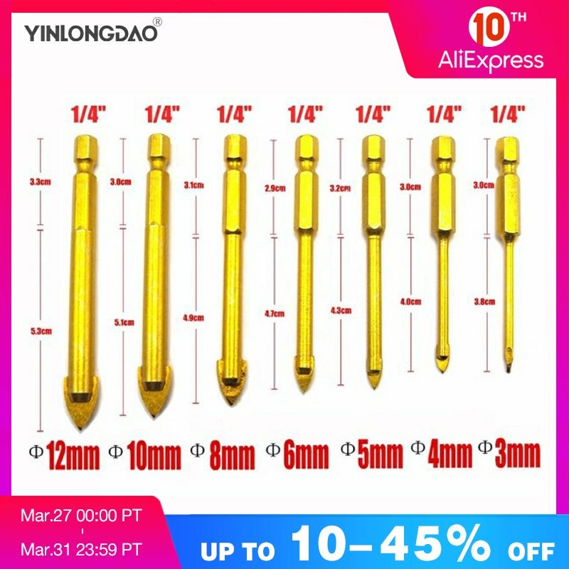 7pcs/Set Quality Drill Bits Carbide Alloy Titanium Plated Triangle Glass Drill Tungsten Steel Tile Drill Power Hand Tools Set