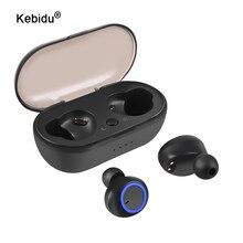 Kebidu tws fones de ouvido sem fio bluetooth 5.0 fone estéreo à prova dwaterproof água esporte para o telefone handsfree gaming headset com microfone