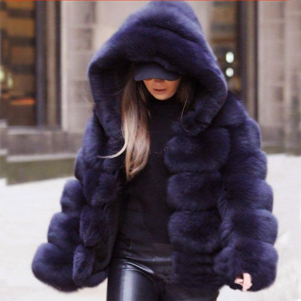 Hiver chaud fausse fourrure usine Faux renard fourrure manteau femmes moelleux fourrure artificielle à capuche manteaux pardessus