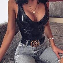 Ellolace body in pelle nera donna donna 2020 scollo a v tuta senza schienale Sexy Bodycon Bodys Summer Pu body nero donna
