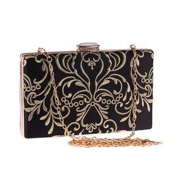 Women Banquet Bag Black Retro Handbag Gold Embroidery Clutch Purse Party Evening Clutch Bag Wedding Accessory Dinner Handbag