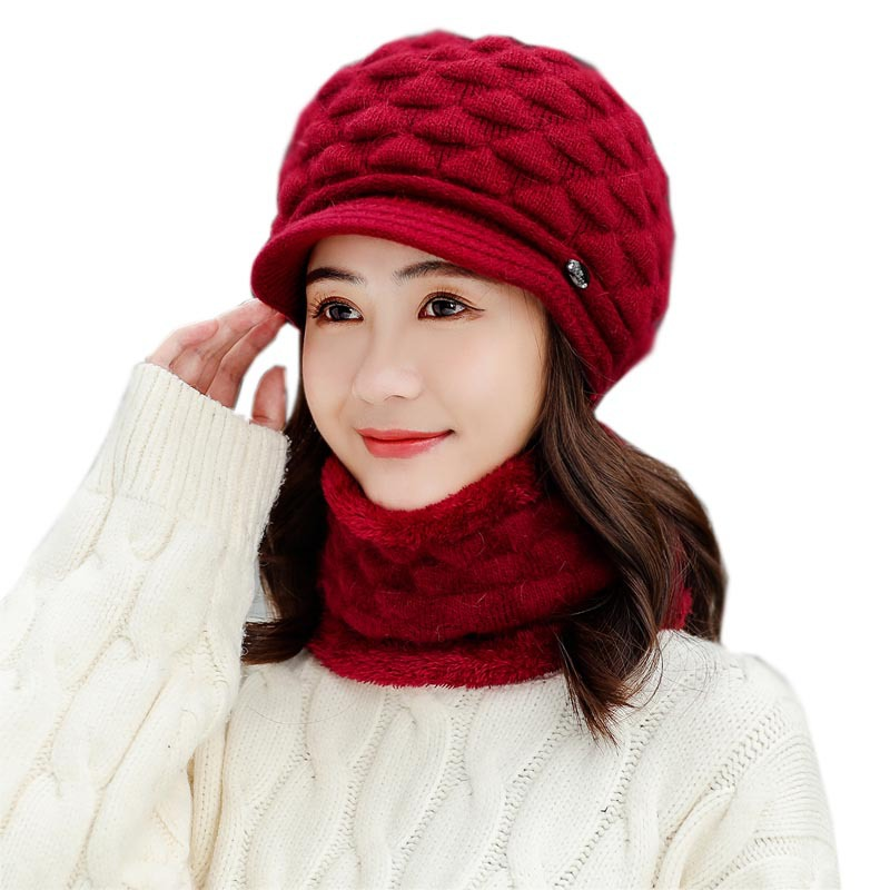 Women's Hat Winter Hat And Scarf Set Two-Piece Women Wool Thicken Warm Set Female Ring Scarves Hats For Girls Unisex Beanie