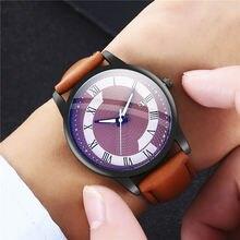 Новые мужские креативные повседневные часы с кожаным ремешком