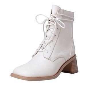 Image 2 - FEDONAS Qualidade Confortável pele de Carneiro Das Mulheres Tornozelo Botas De Marca Inverno Quente Botas Curtas Grande Tamanho da Fêmea Do Partido Sapatos Mulher Do Hight
