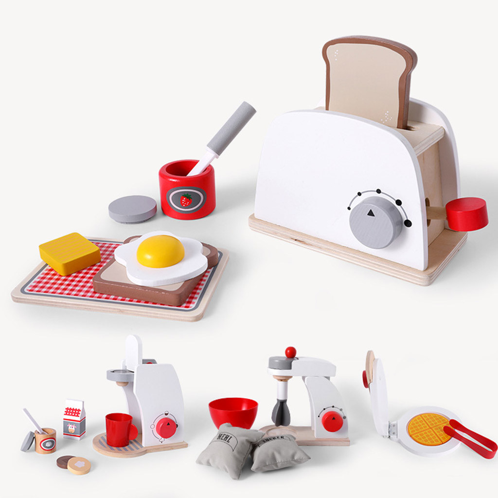 Kids Wooden Pretend Play Sets Simulation Toasters Bread Maker Coffee Machine Blender Baking Kit Game Mixer Kitchen Role Toy