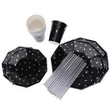 49 шт одноразовые бумажные тарелки чашка соломенная Луна и звезда шаблон столовая посуда все для праздника на день рождения свадьба фестиваль детский душ