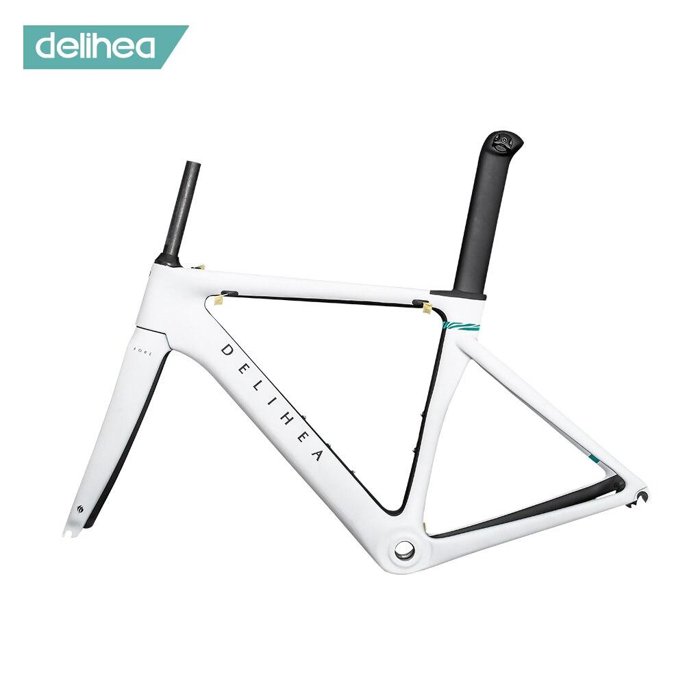 2020 delihea carbono quadro da bicicleta de estrada ciclismo conjunto quadros super leve di2/mecânica corrida carbono aero quadro
