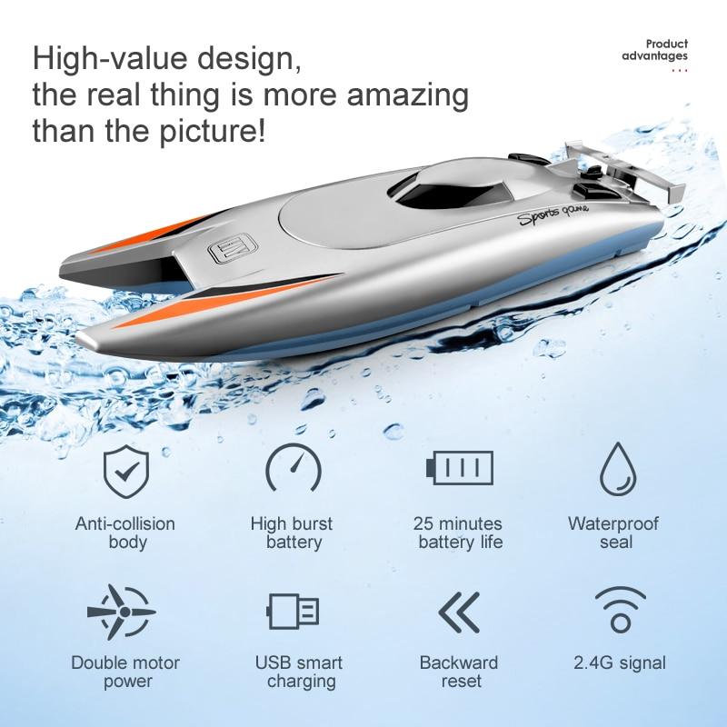 2020 2,4G радиоуправляемая лодка , высокоскоростная лодка, большая емкость батареи, двойной мотор, водонепроницаемая дистанционным управлением , 30 км/ч , игрушка в подарок radio controlled speedboat RC-лодки      АлиЭкспресс