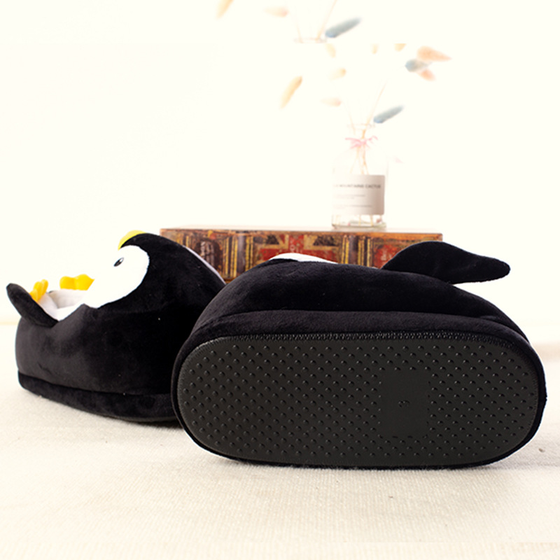 Kids Winter Home Cotton Shoes Soft Non-slip Fluffy Slippers Cute Cartoon Plush Slippers women Animals Penguin Indoor Shoes 3