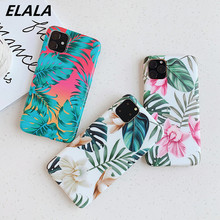 ELALA Tropical Leaves Flower Case For iPhone 11 Pro XS Max XR X 7 8 6 6S Plus Cover For iPhone 11 Pro Max Soft Cover Matte Cases new iphone case for iphone 11 for iphone11 pro max 5 8 inches 6 1 inches 6 8 inches 6 6s 7 8 plus ix xr max x fashion back cover