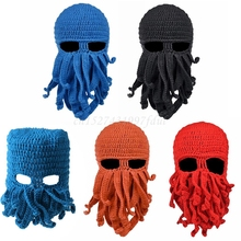 Knitted Hat Costume Cosplay-Mask Octopus Tentacle Balaclava Winter Funny Halloween Beanie-Cap