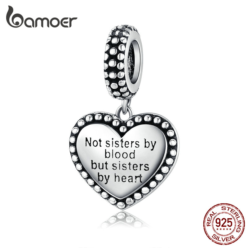 Bamoer 925 Sterling Silver Engraved Heart Pendant Charm For Women Bracelet