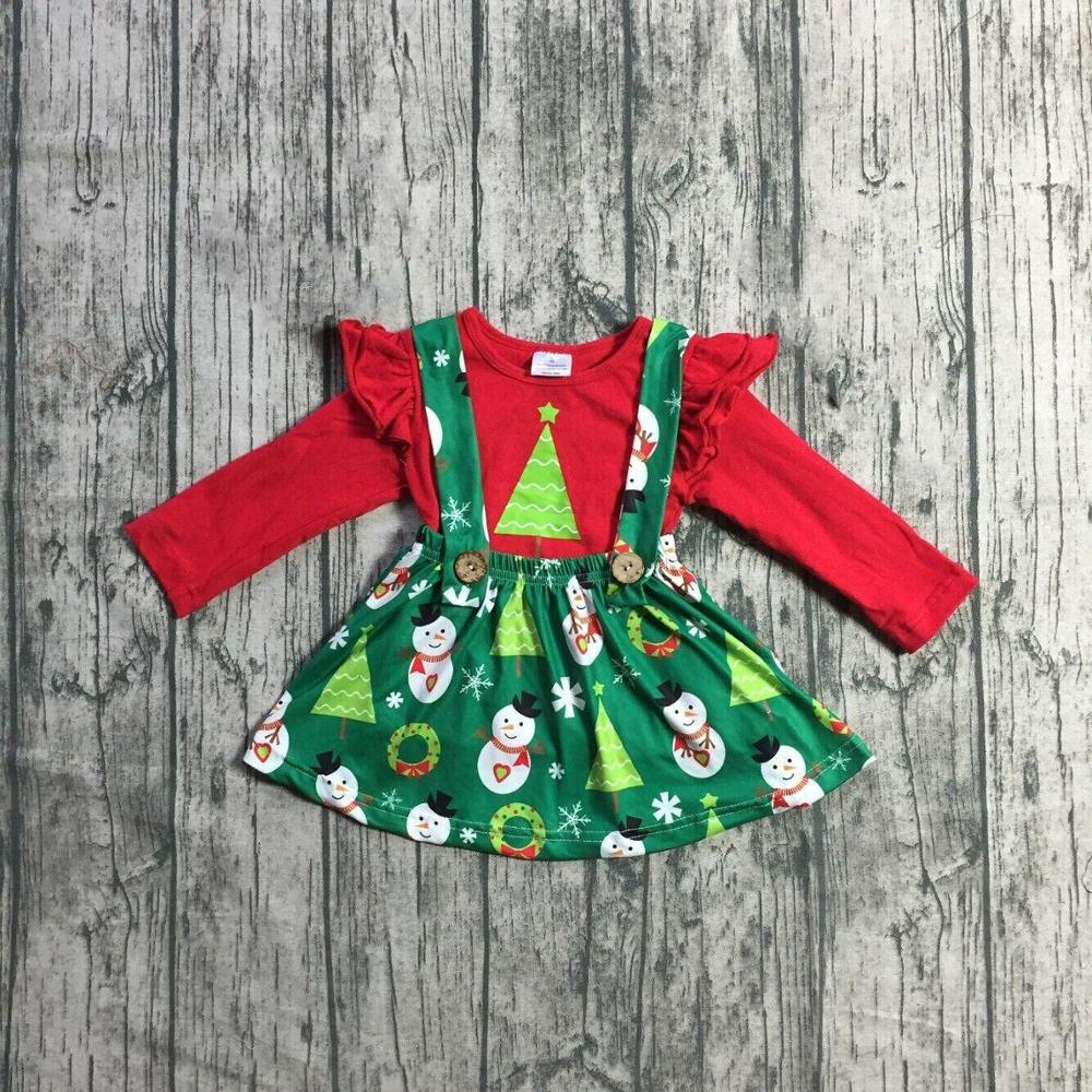 Special Offer Girlymax Christmas Fall/Winter Baby Girls Clothes Children Cotton Boutique Outfits Ruffles Pants Set Skirt 6
