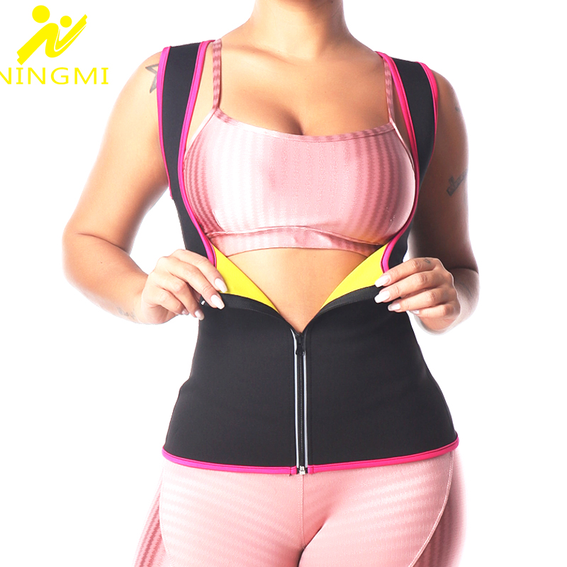 NINGMI Women Waist Trainer Hot Neoprene Shirt Sauna Suit Sweat Body Shaper Jacket Top Zipper Shapewear Vest